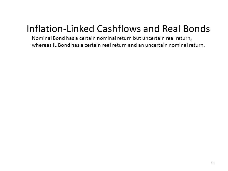 Inflation-Linked Cashflows and Real Bonds Nominal Bond has a certain nominal return but uncertain real return, whereas IL Bond has a certain real return and an uncertain nominal return.