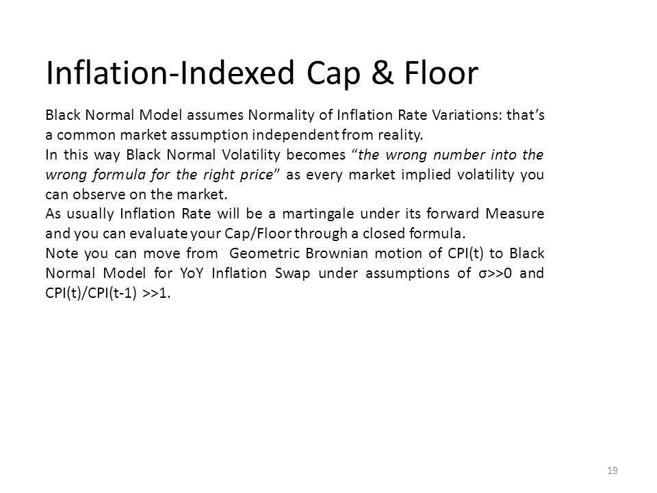 Inflation-Indexed Cap & Floor Black Normal Model assumes Normality of Inflation Rate Variations: thats a common market assumption independent from reality.