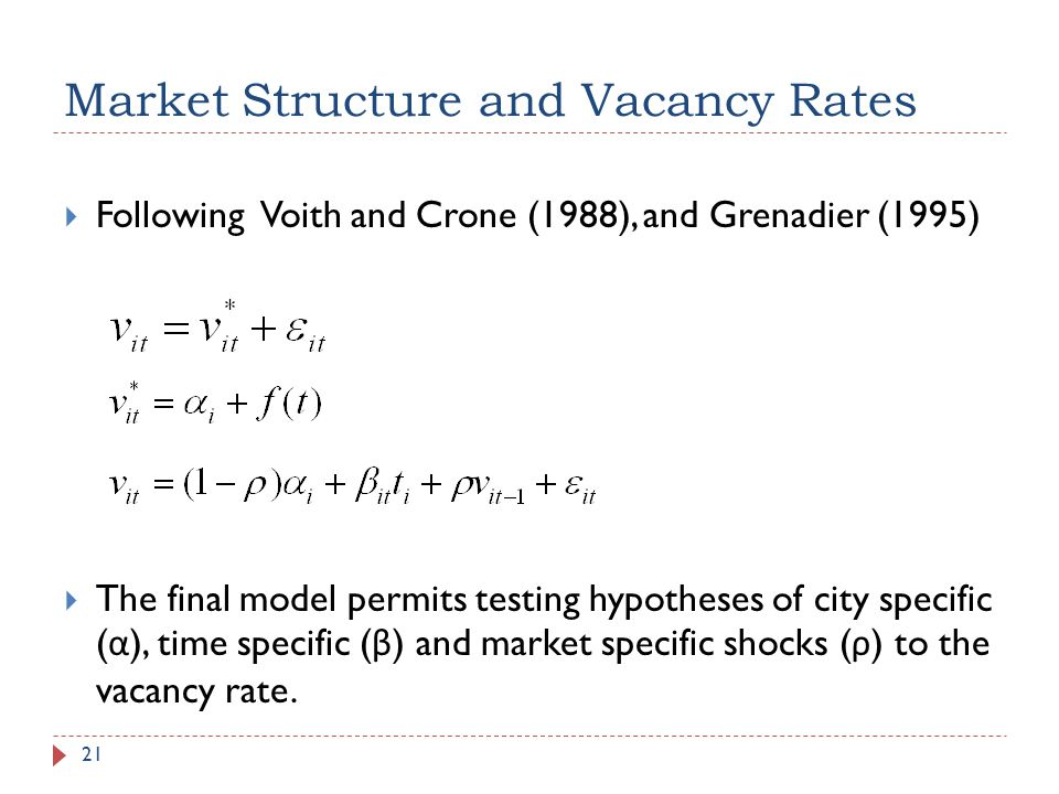Market Structure and Vacancy Rates 21 Following Voith and Crone (1988), and Grenadier (1995) The final model permits testing hypotheses of city specif