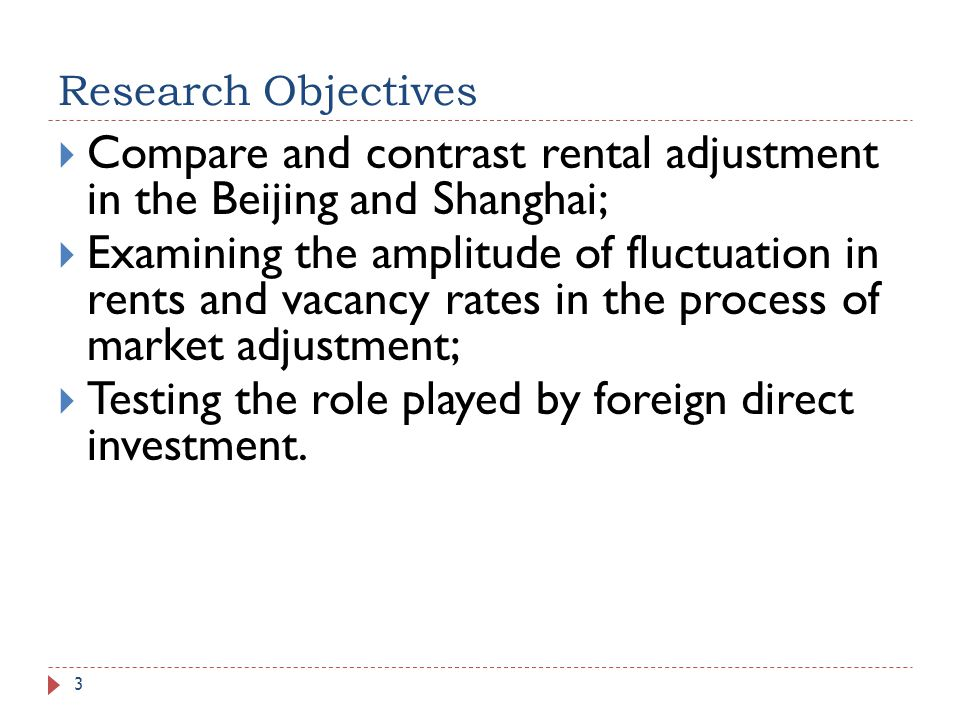 Research Objectives 3 Compare and contrast rental adjustment in the Beijing and Shanghai; Examining the amplitude of fluctuation in rents and vacancy
