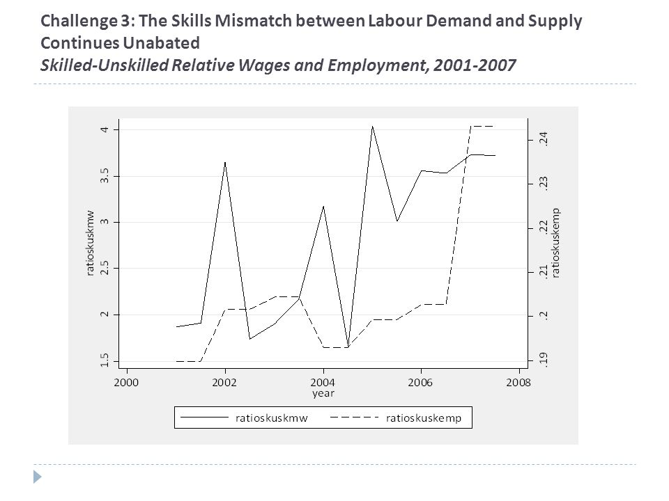 Challenge 3: The Skills Mismatch between Labour Demand and Supply Continues Unabated Skilled-Unskilled Relative Wages and Employment, 2001-2007
