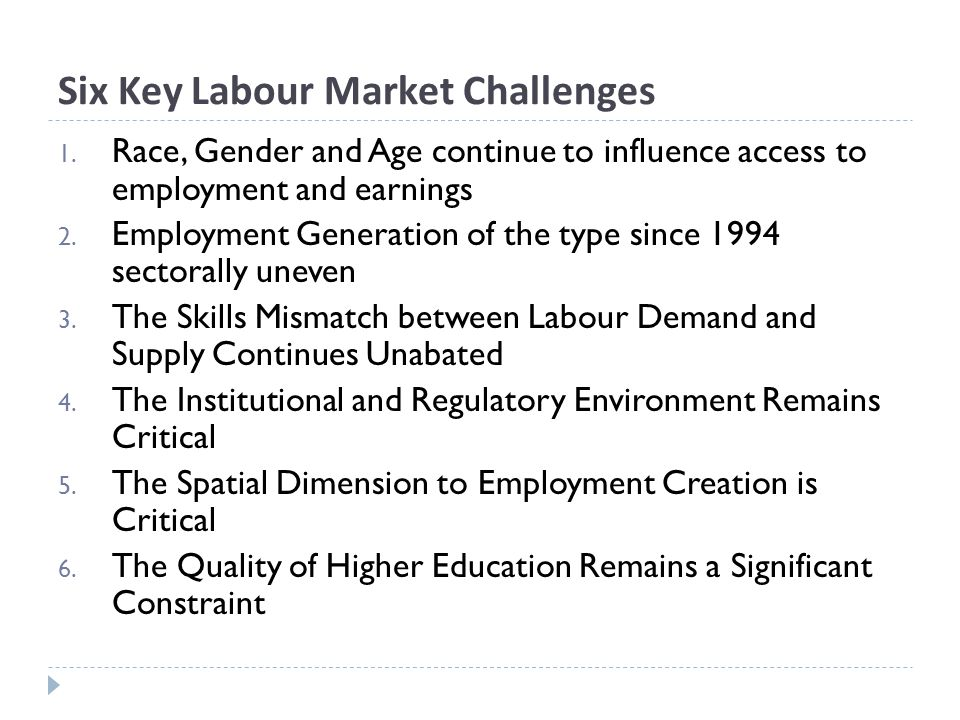Six Key Labour Market Challenges 1.