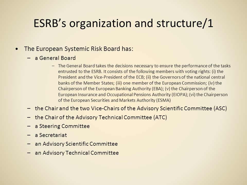 ESRBs organization and structure/1 The European Systemic Risk Board has: –a General Board –The General Board takes the decisions necessary to ensure t