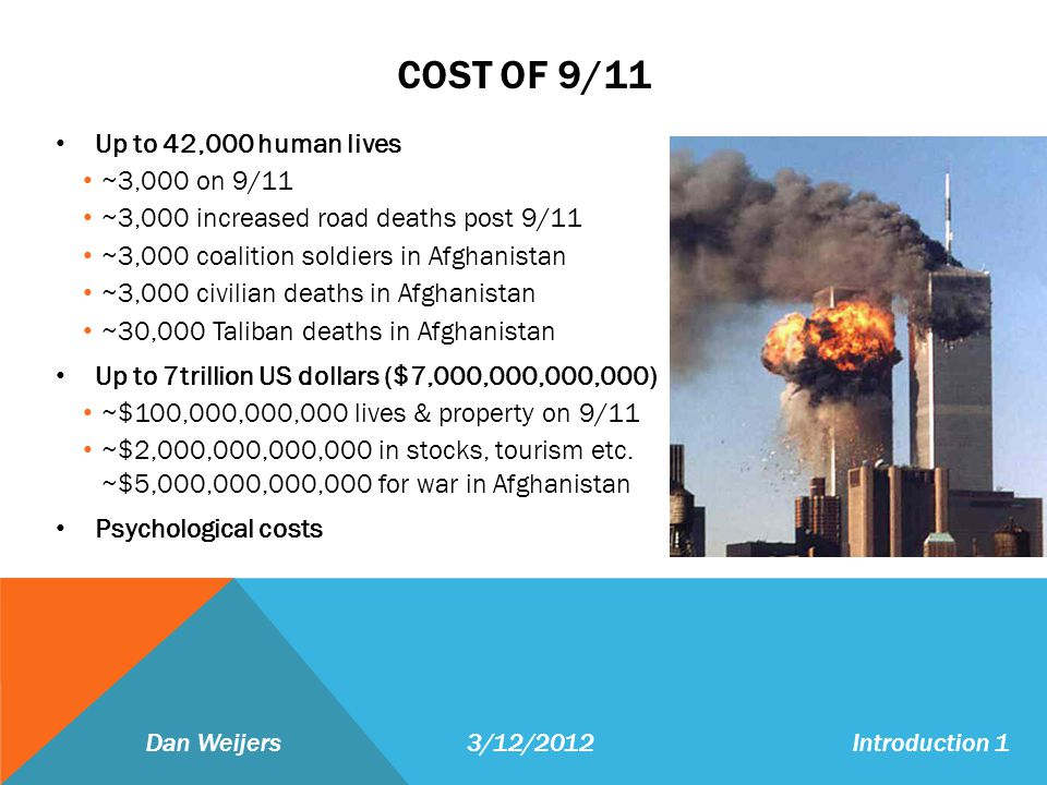 COST OF 9/11 Up to 42,000 human lives ~3,000 on 9/11 ~3,000 increased road deaths post 9/11 ~3,000 coalition soldiers in Afghanistan ~3,000 civilian deaths in Afghanistan ~30,000 Taliban deaths in Afghanistan Up to 7trillion US dollars ($7,000,000,000,000) ~$100,000,000,000 lives & property on 9/11 ~$2,000,000,000,000 in stocks, tourism etc.