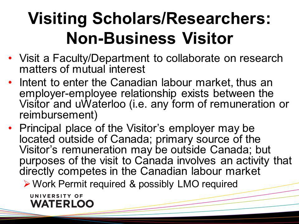 RA/TA / Lab Techs / Visiting Scholars / Staff If the foreign hire is NOT a student with uWaterloo AND they do not fall into one of the categories previously mentioned, then an LMO Confirmation IS required before a Work Permit will be issued Depending on the type of work, number of hours to be worked, salary offered, length of contract, and advertising done for the position, an LMO is very difficult to obtain Contact me right away to find out what needs to be done Work Requiring LMO Confirmation