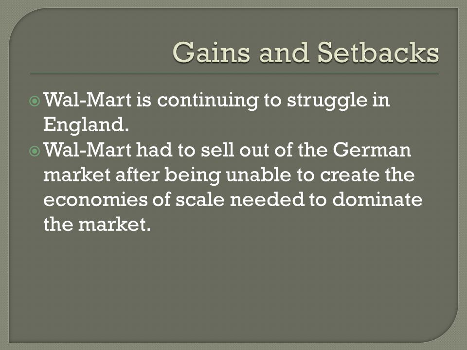 Wal-Mart is continuing to struggle in England.