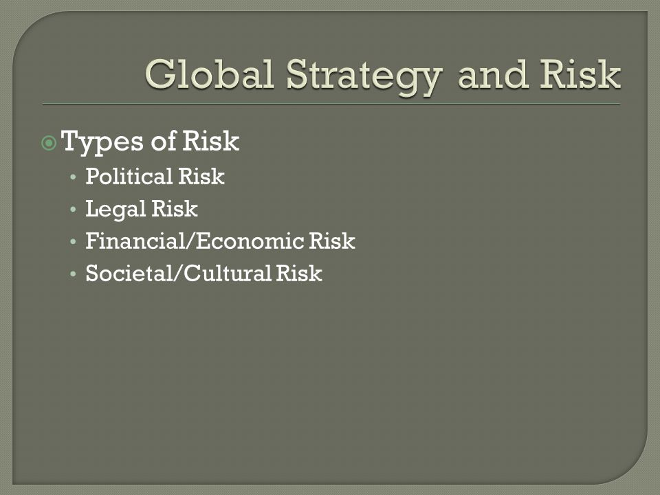 Types of Risk Political Risk Legal Risk Financial/Economic Risk Societal/Cultural Risk