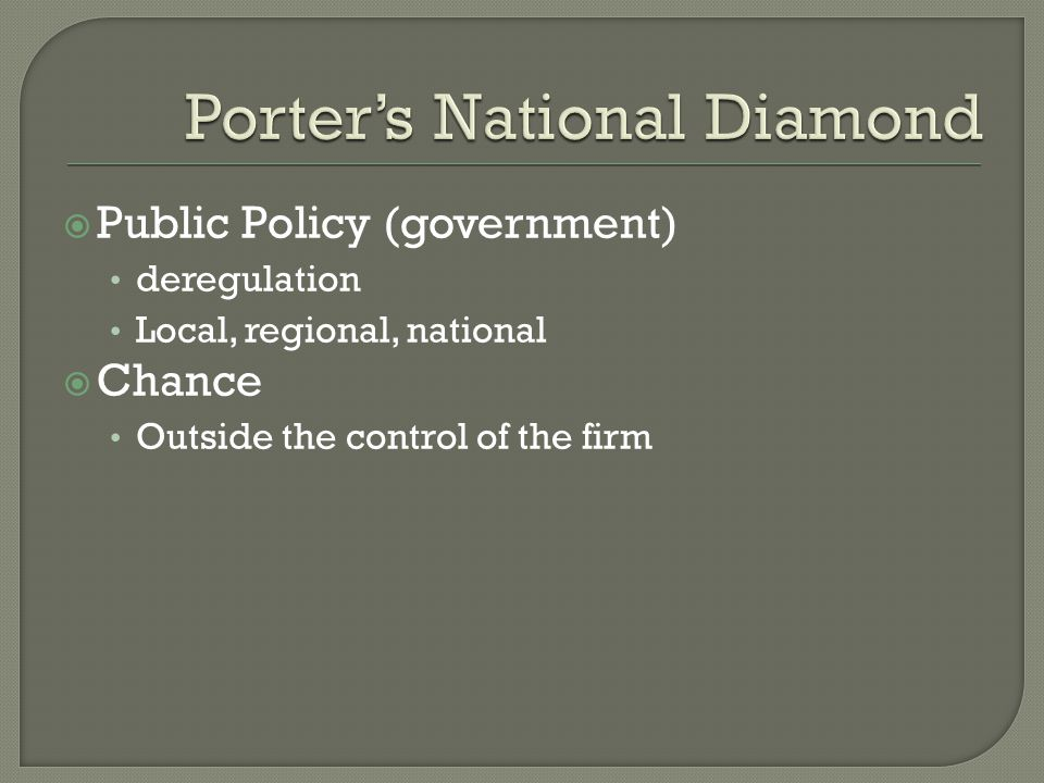 Public Policy (government) deregulation Local, regional, national Chance Outside the control of the firm