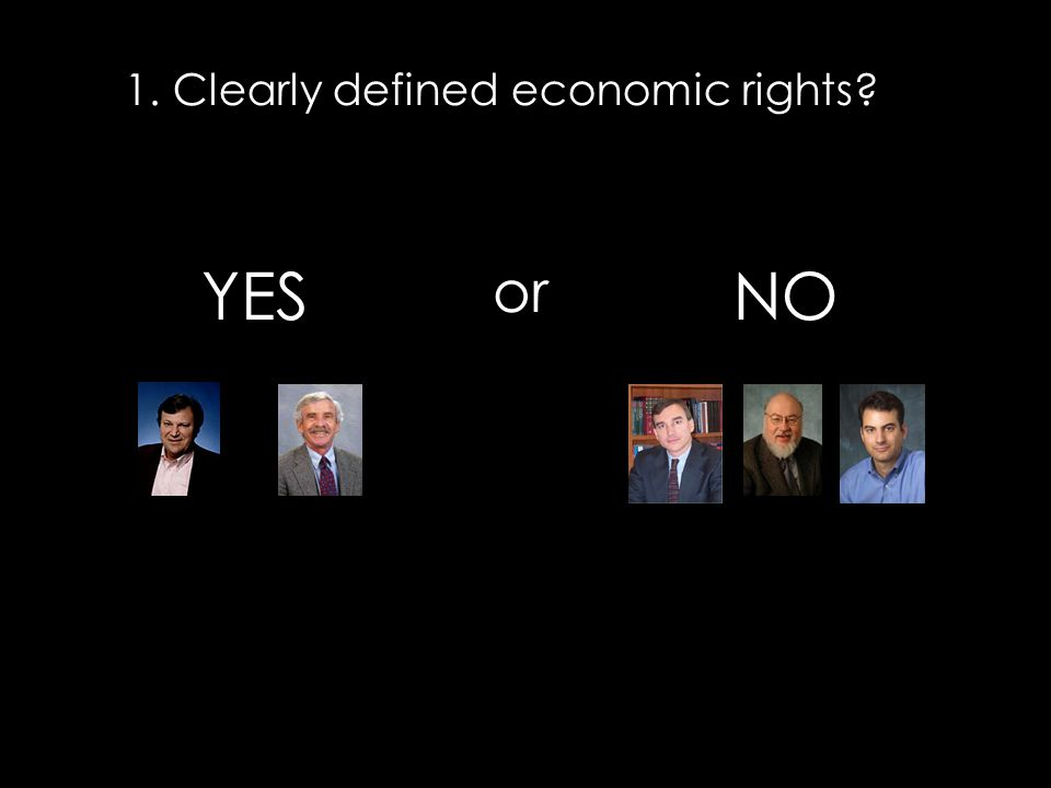 1. Clearly defined economic rights? or YESNO