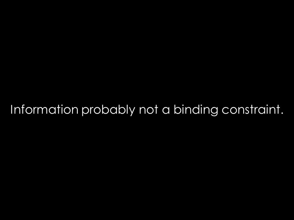 Information probably not a binding constraint.