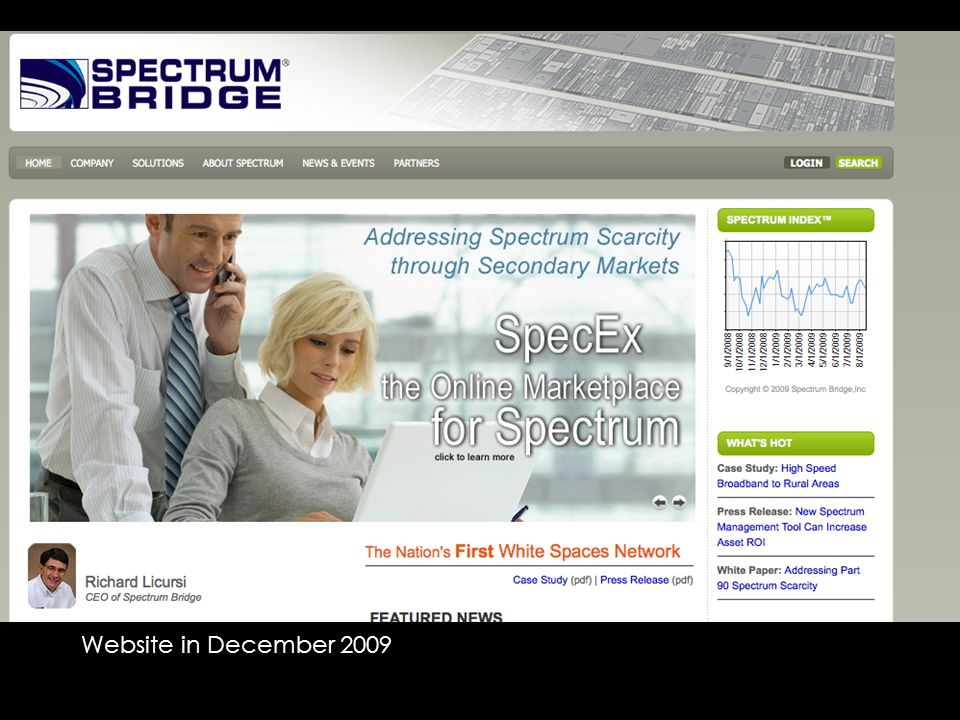 Website in December 2009