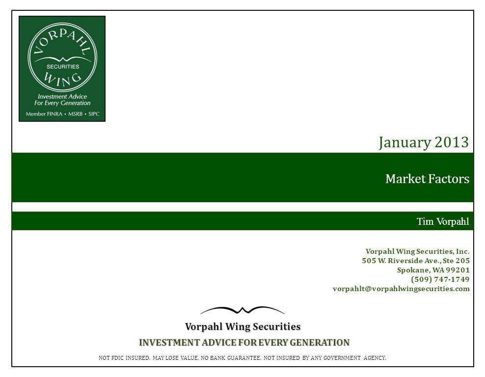 Market Factors January 2013 Tim Vorpahl Vorpahl Wing Securities, Inc.