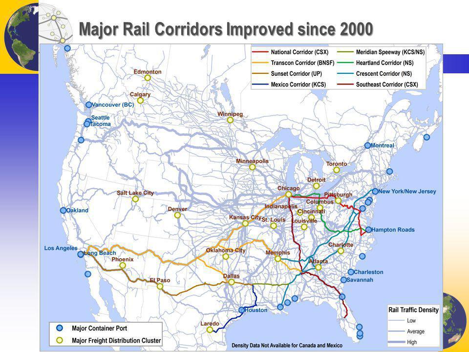 Major Rail Corridors Improved since 2000