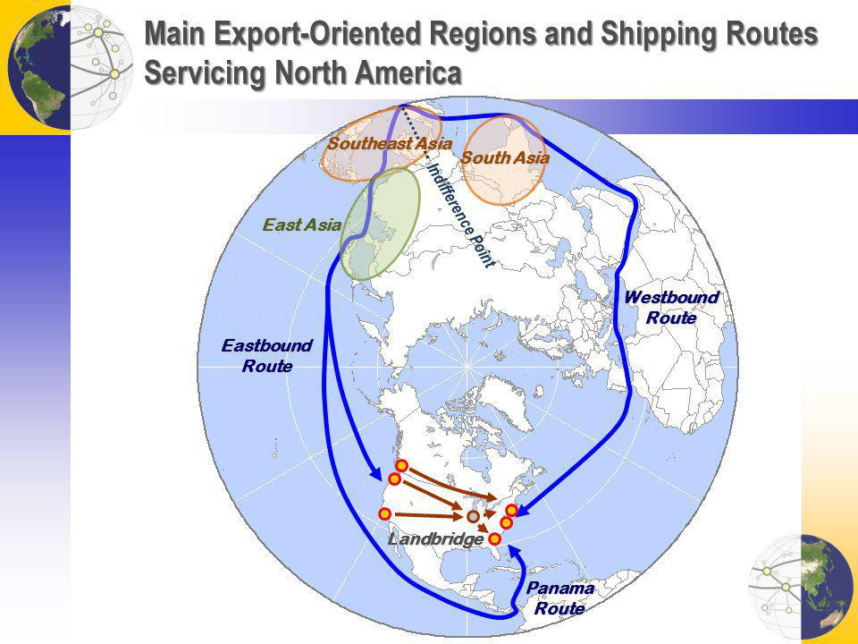 Main Export-Oriented Regions and Shipping Routes Servicing North America Landbridge Westbound Route Eastbound Route Panama Route East Asia South Asia