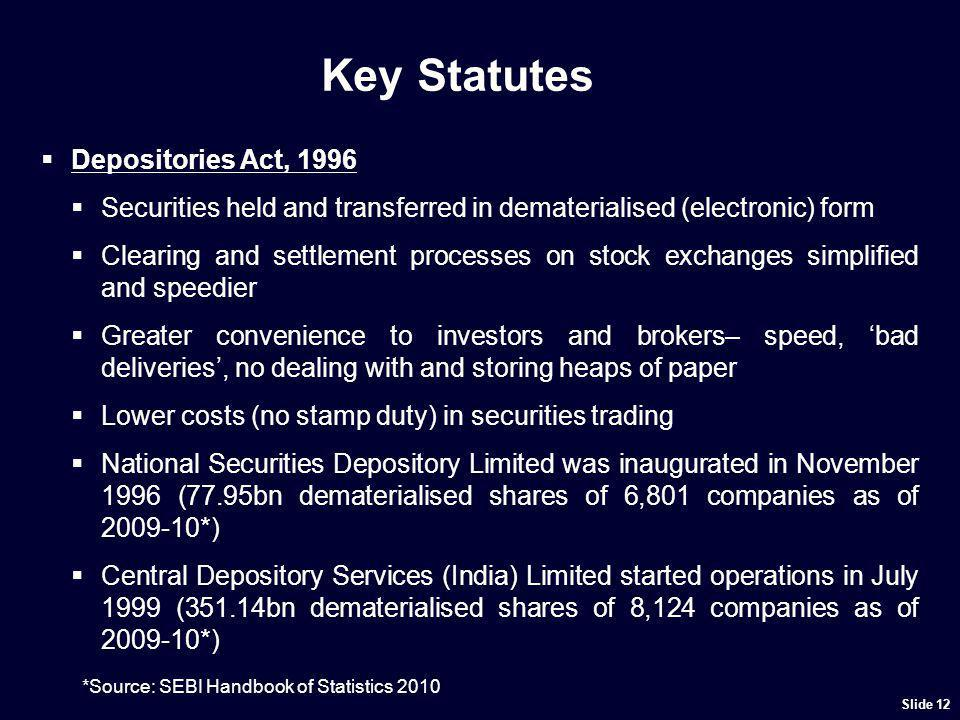 Key Statutes Depositories Act, 1996 Securities held and transferred in dematerialised (electronic) form Clearing and settlement processes on stock exc