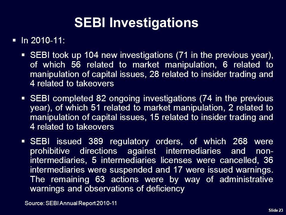 SEBI Investigations In 2010-11: SEBI took up 104 new investigations (71 in the previous year), of which 56 related to market manipulation, 6 related t