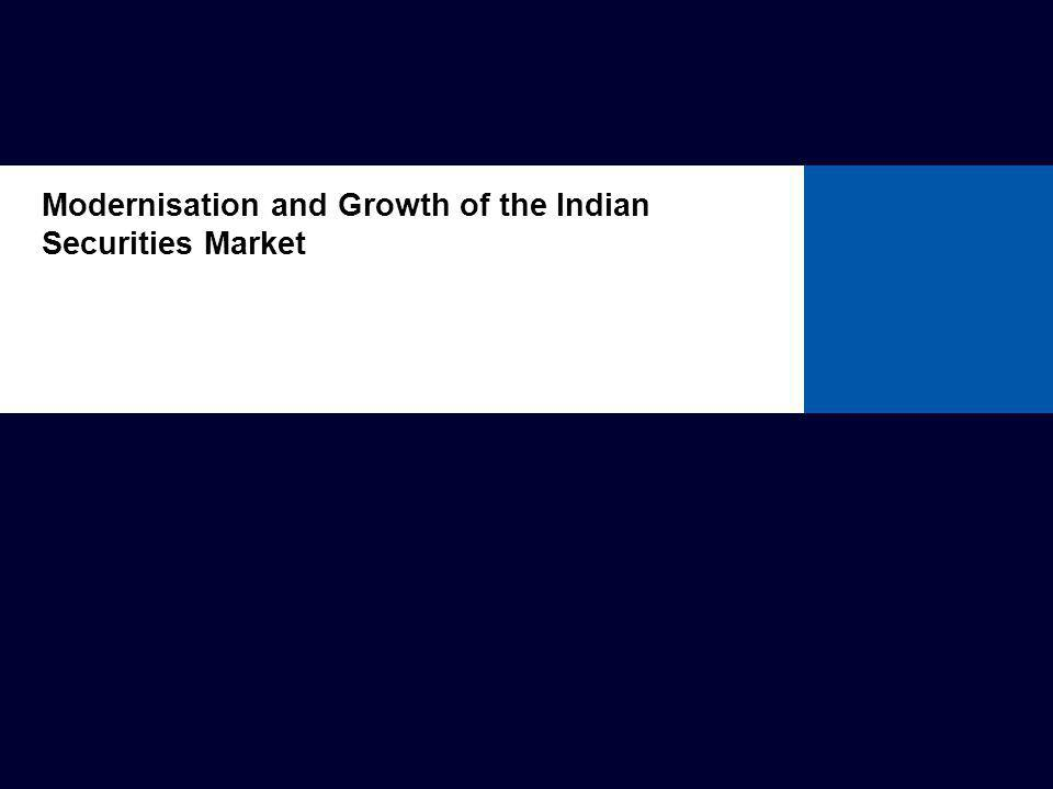 Modernisation of Indian Securities Market Pre 1992: Underdeveloped securities markets Growth limited by various factors: pricing controls excessive governmental control restrictions on issuing shares at a premium low liquidity no specialised regulator lack of required regulations Slide 3