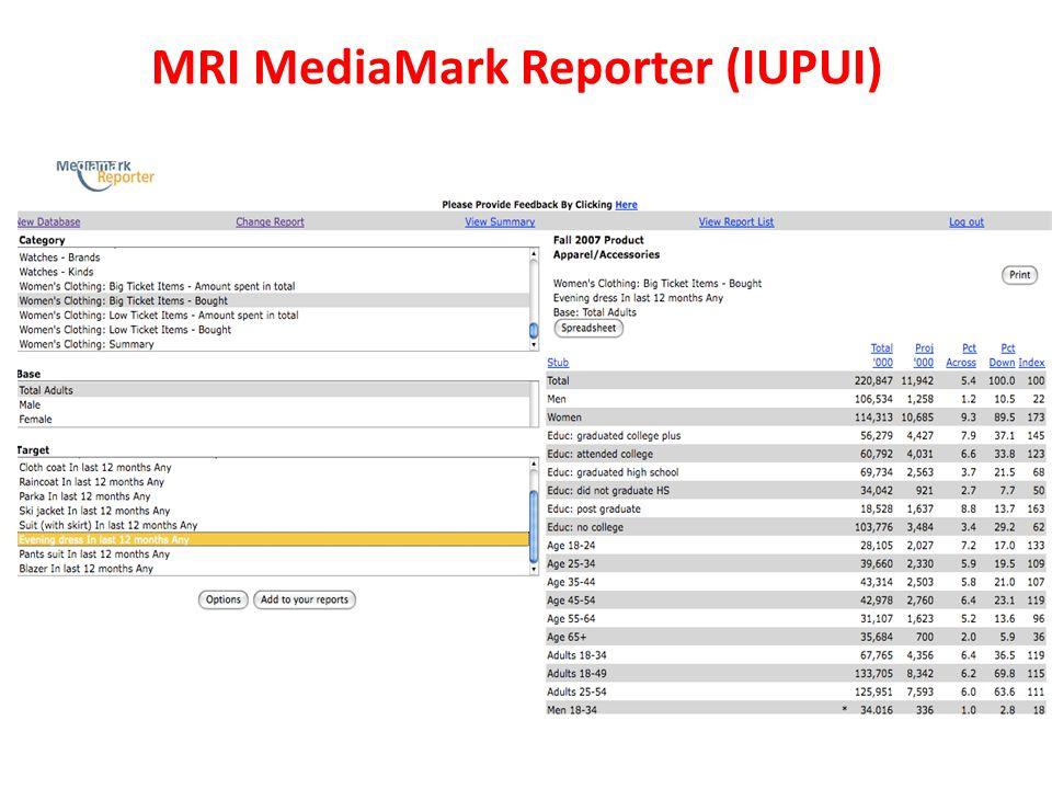MRI MediaMark Reporter (IUPUI)