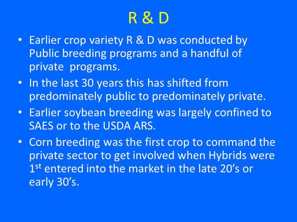 R & D Earlier crop variety R & D was conducted by Public breeding programs and a handful of private programs.