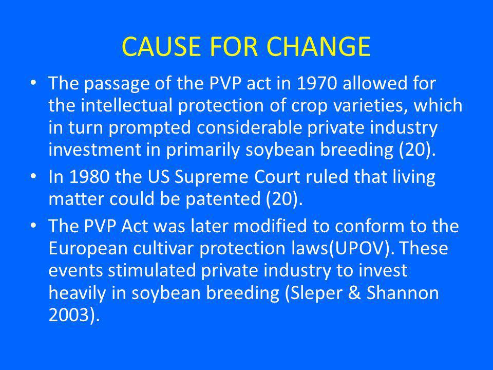 CAUSE FOR CHANGE The passage of the PVP act in 1970 allowed for the intellectual protection of crop varieties, which in turn prompted considerable private industry investment in primarily soybean breeding (20).