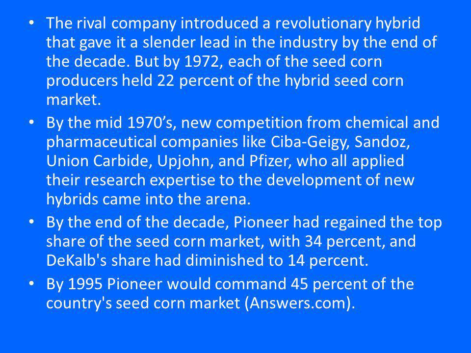 The rival company introduced a revolutionary hybrid that gave it a slender lead in the industry by the end of the decade.