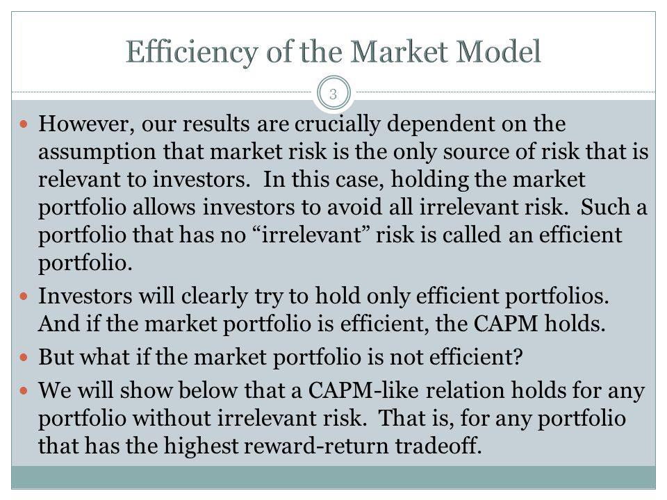 3 However, our results are crucially dependent on the assumption that market risk is the only source of risk that is relevant to investors.