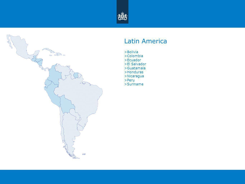 Latin America >Bolivia >Colombia >Ecuador >El Salvador >Guatamala >Honduras >Nicaragua >Peru >Suriname