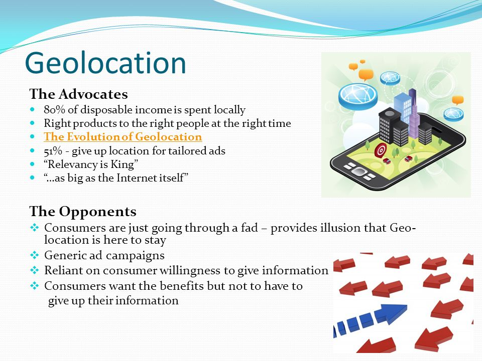Geolocation The Advocates 80% of disposable income is spent locally Right products to the right people at the right time The Evolution of Geolocation