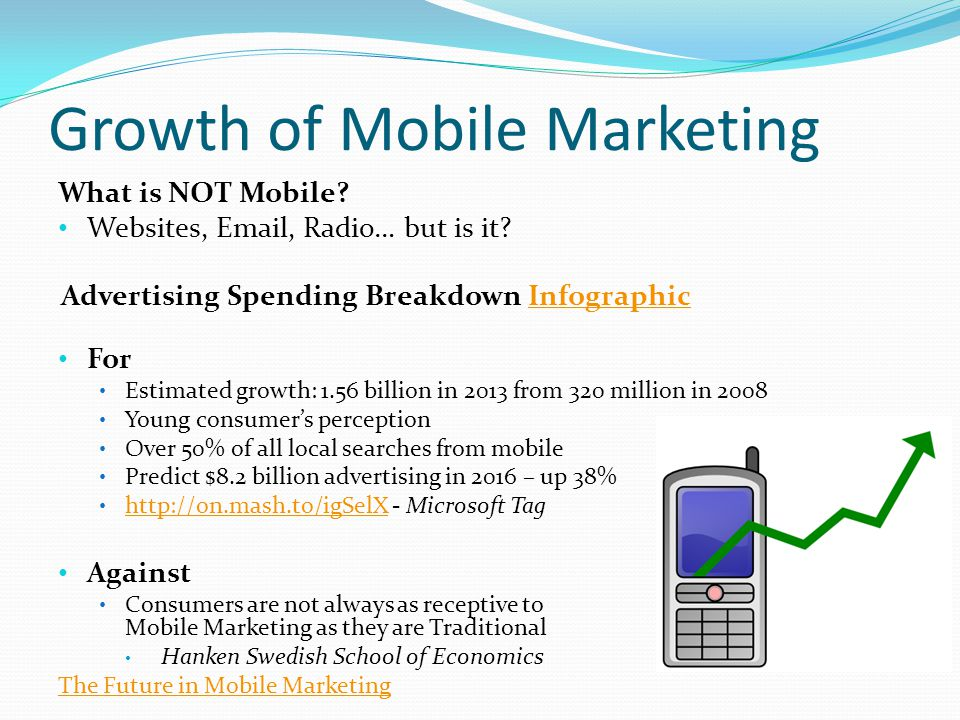 Growth of Mobile Marketing What is NOT Mobile? Websites, Email, Radio… but is it? Advertising Spending Breakdown InfographicInfographic For Estimated