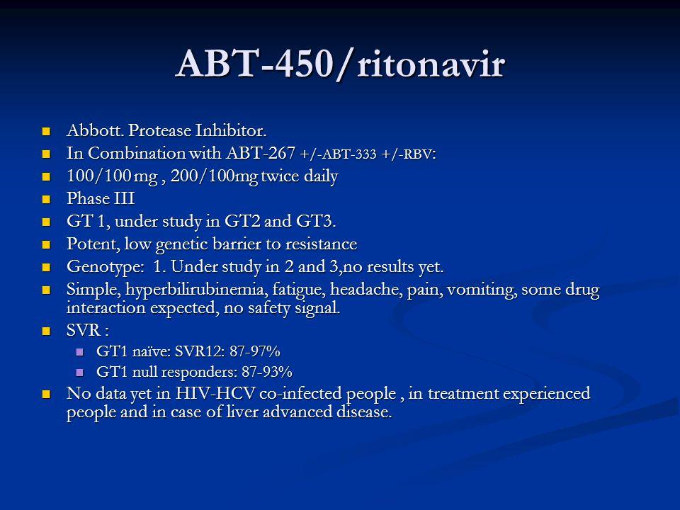 ABT-450/ritonavir Abbott. Protease Inhibitor. Abbott. Protease Inhibitor. In Combination with ABT-267 +/-ABT-333 +/-RBV : In Combination with ABT-267