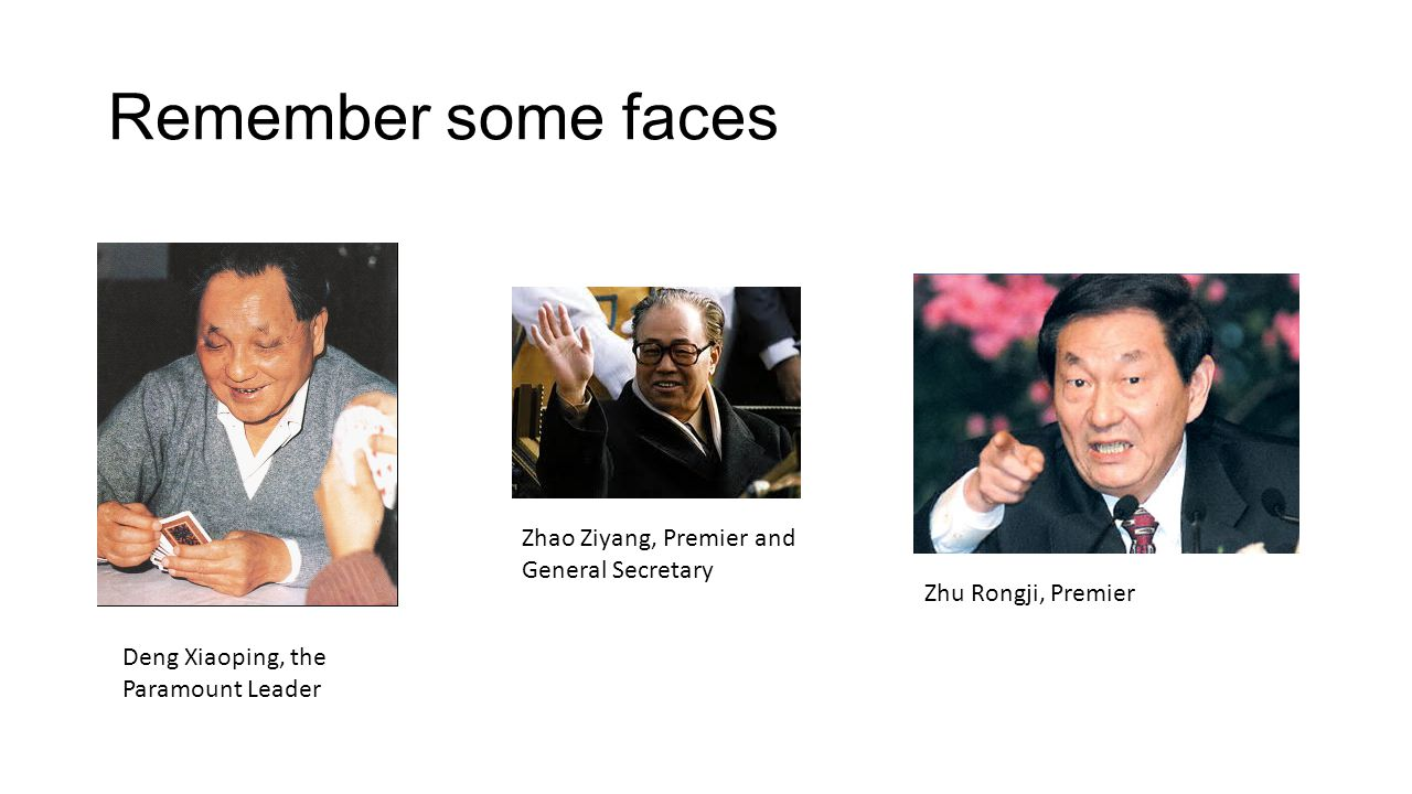 Remember some faces Deng Xiaoping, the Paramount Leader Zhu Rongji, Premier Zhao Ziyang, Premier and General Secretary