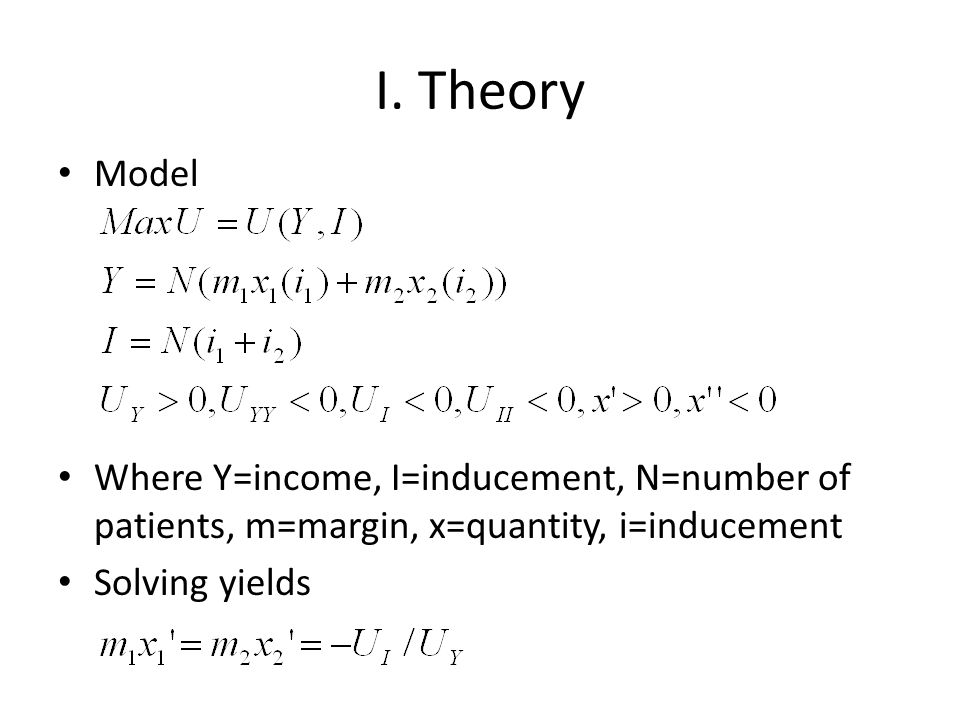 I. Theory Model Where Y=income, I=inducement, N=number of patients, m=margin, x=quantity, i=inducement Solving yields