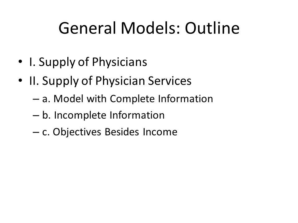General Models: Outline I. Supply of Physicians II. Supply of Physician Services – a. Model with Complete Information – b. Incomplete Information – c.