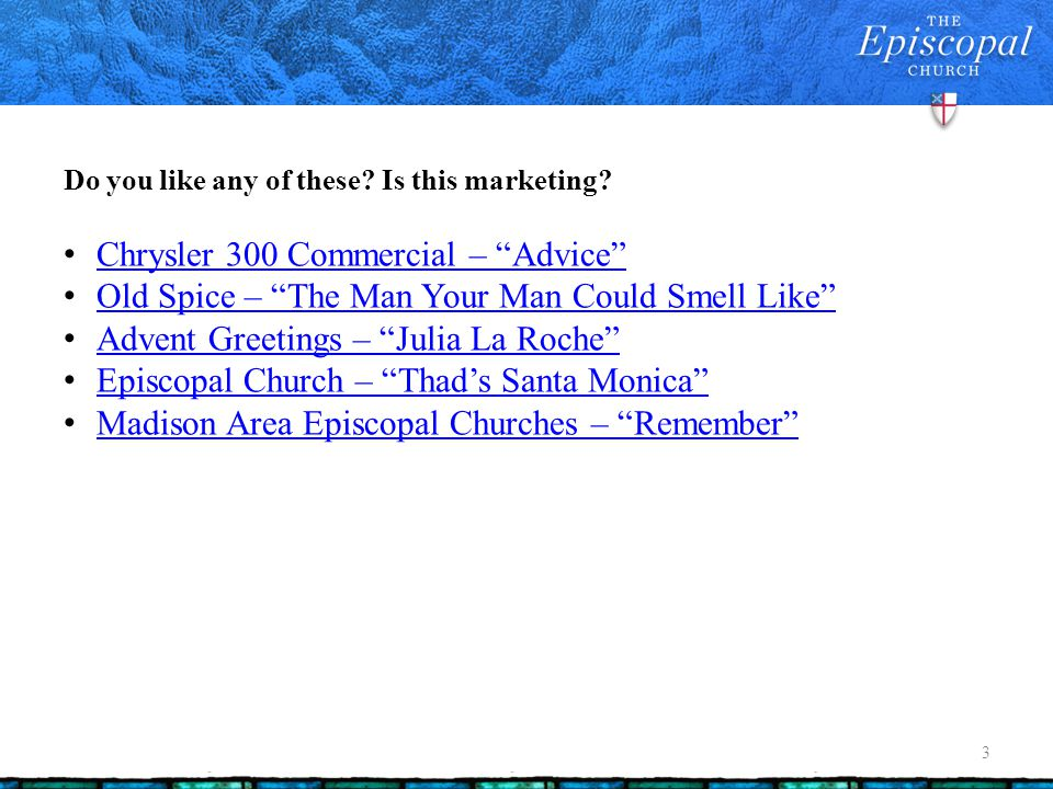 Evangelism and advertising share common roots, then diverge 14 Person to person (salesmen, evangelists like Phillip) Print (epistles, gospels, tracts, ad copy, mass marketing) Creative revolution (television, church sat this one out) Digital Can the church jump back in the game?