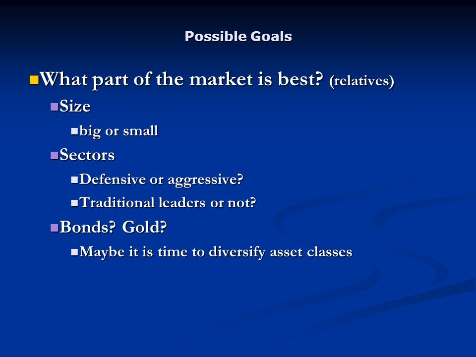 Possible Goals What part of the market is best. (relatives) What part of the market is best.
