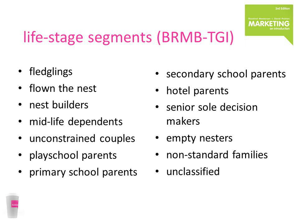 life-stage segments (BRMB-TGI) fledglings flown the nest nest builders mid-life dependents unconstrained couples playschool parents primary school par