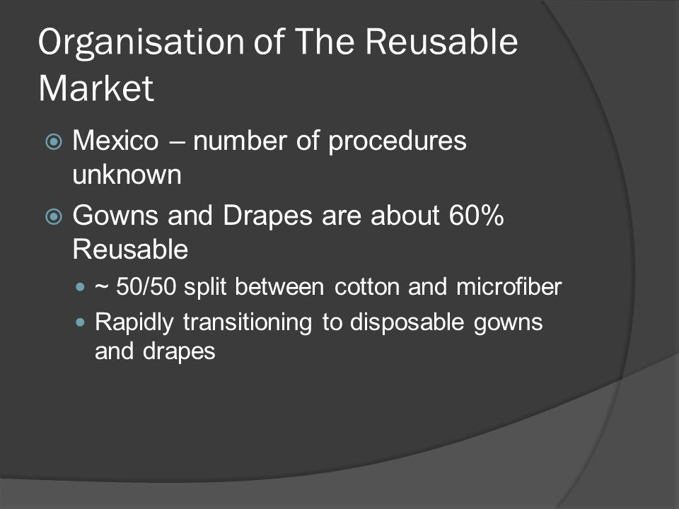 Organisation of The Reusable Market Mexico – number of procedures unknown Gowns and Drapes are about 60% Reusable ~ 50/50 split between cotton and mic