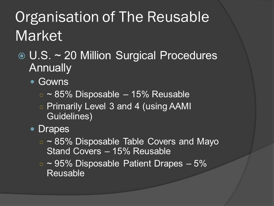 Organisation of The Reusable Market U.S. ~ 20 Million Surgical Procedures Annually Gowns ~ 85% Disposable – 15% Reusable Primarily Level 3 and 4 (usin