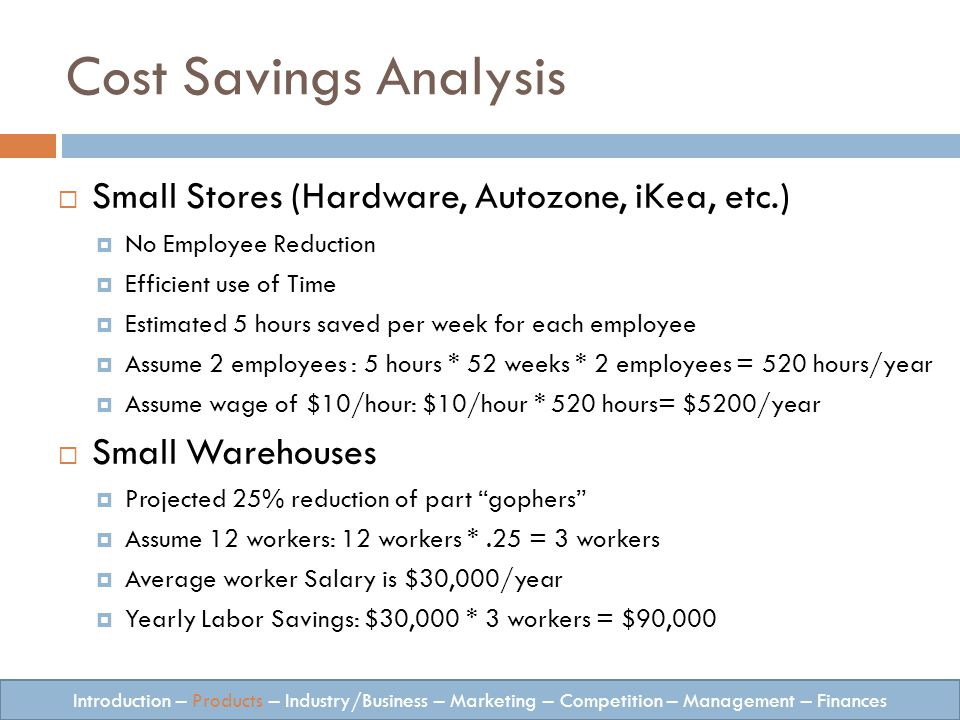 Small Stores (Hardware, Autozone, iKea, etc.) No Employee Reduction Efficient use of Time Estimated 5 hours saved per week for each employee Assume 2 employees : 5 hours * 52 weeks * 2 employees = 520 hours/year Assume wage of $10/hour: $10/hour * 520 hours= $5200/year Small Warehouses Projected 25% reduction of part gophers Assume 12 workers: 12 workers *.25 = 3 workers Average worker Salary is $30,000/year Yearly Labor Savings: $30,000 * 3 workers = $90,000 Introduction – Products – Industry/Business – Marketing – Competition – Management – Finances Cost Savings Analysis