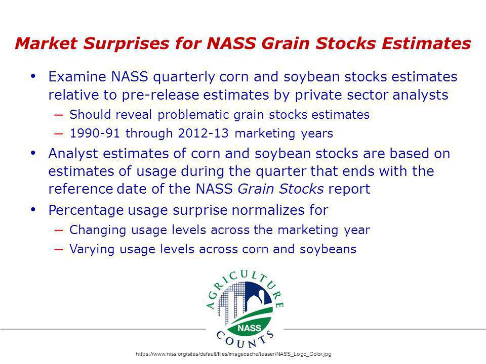 Market Surprises for NASS Grain Stocks Estimates Examine NASS quarterly corn and soybean stocks estimates relative to pre-release estimates by private sector analysts – Should reveal problematic grain stocks estimates – 1990-91 through 2012-13 marketing years Analyst estimates of corn and soybean stocks are based on estimates of usage during the quarter that ends with the reference date of the NASS Grain Stocks report Percentage usage surprise normalizes for – Changing usage levels across the marketing year – Varying usage levels across corn and soybeans https://www.niss.org/sites/default/files/imagecache/teaser/NASS_Logo_Color.jpg