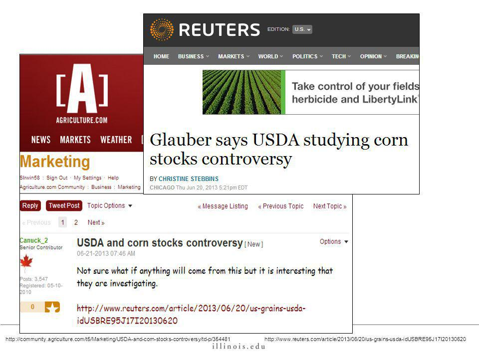 http://www.reuters.com/article/2013/06/20/us-grains-usda-idUSBRE95J17I20130620http://community.agriculture.com/t5/Marketing/USDA-and-corn-stocks-controversy/td-p/354481