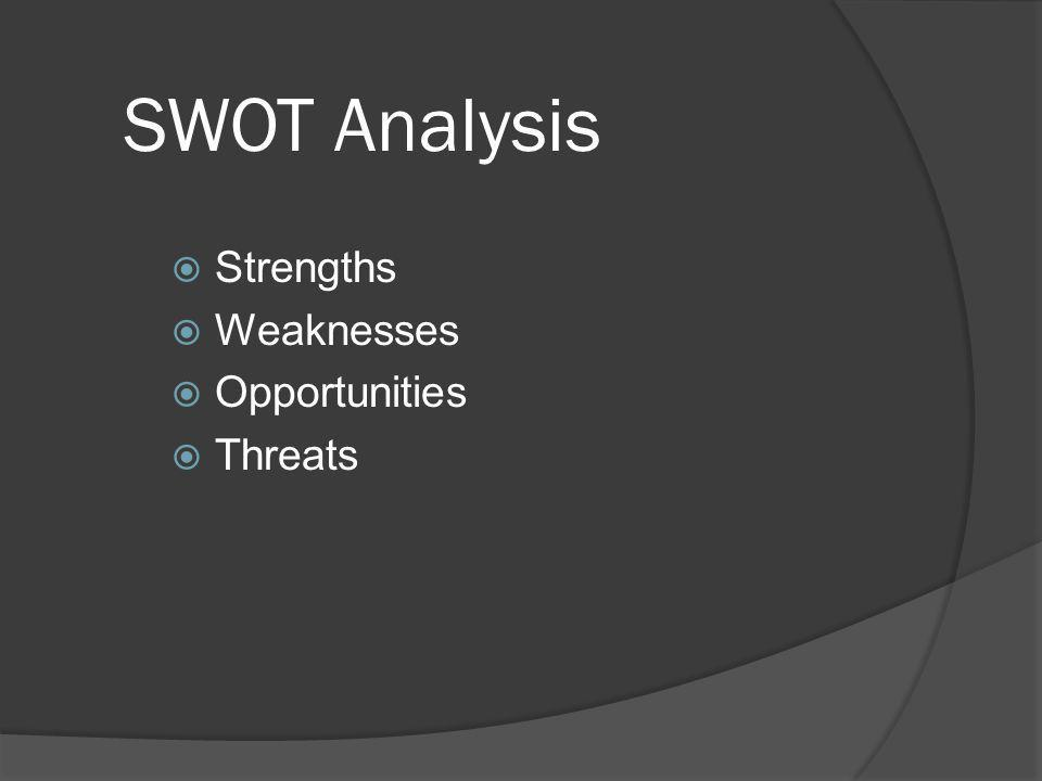 The purpose of SWOT Analysis It is an easy-to-use tool for developing an overview of a companys strategic situation It forms a basis for matching your companys strategy to its situation