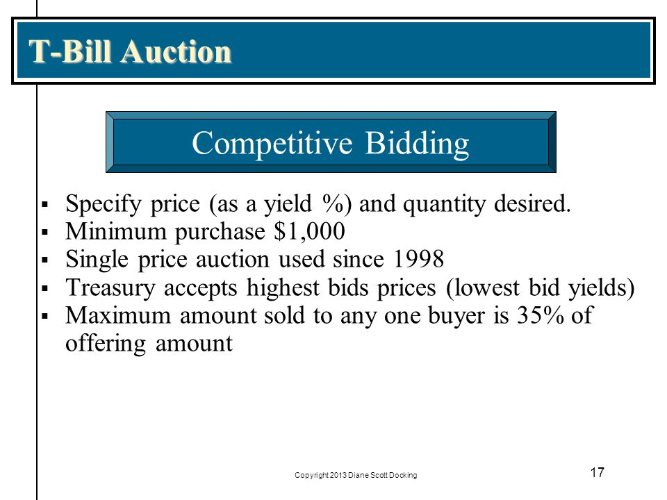 Copyright 2013 Diane Scott Docking 17 T-Bill Auction Specify price (as a yield %) and quantity desired. Minimum purchase $1,000 Single price auction u