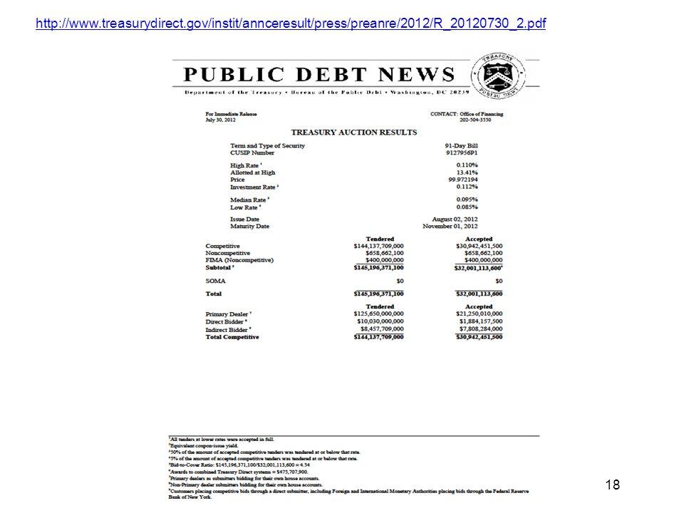 Copyright 2013 Diane Scott Docking 18 http://www.treasurydirect.gov/instit/annceresult/press/preanre/2012/R_20120730_2.pdf