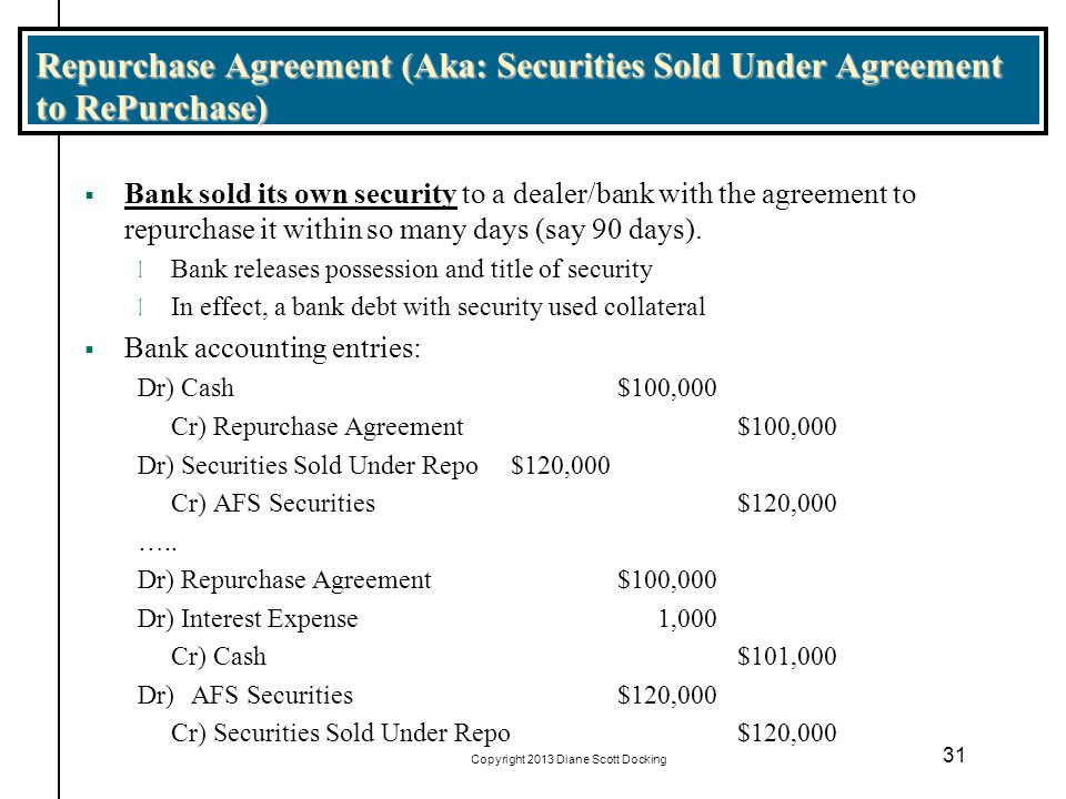 Copyright 2013 Diane Scott Docking 31 Repurchase Agreement (Aka: Securities Sold Under Agreement to RePurchase) Bank sold its own security to a dealer/bank with the agreement to repurchase it within so many days (say 90 days).