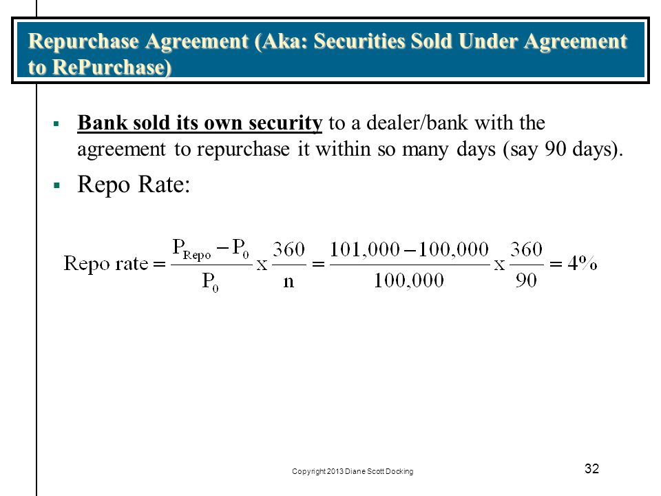 Copyright 2013 Diane Scott Docking 32 Repurchase Agreement (Aka: Securities Sold Under Agreement to RePurchase) Bank sold its own security to a dealer