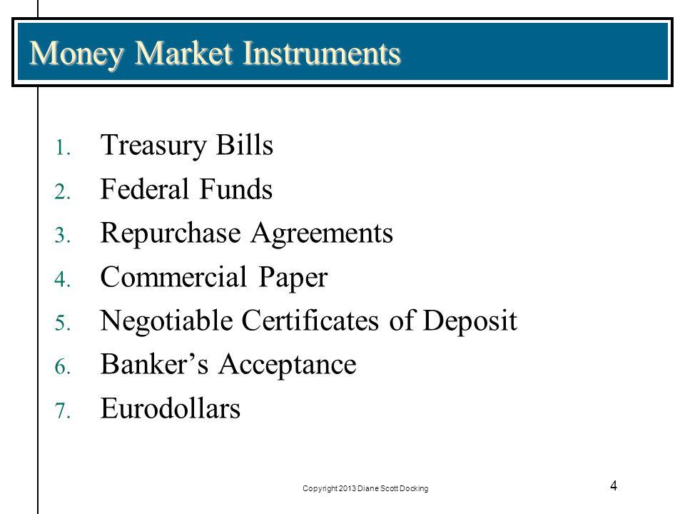 Copyright 2013 Diane Scott Docking 4 Money Market Instruments 1. Treasury Bills 2. Federal Funds 3. Repurchase Agreements 4. Commercial Paper 5. Negot