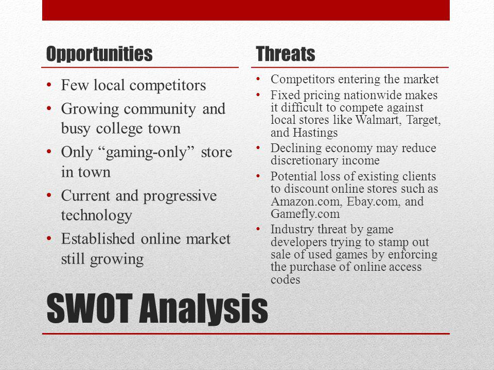 SWOT Analysis Opportunities Few local competitors Growing community and busy college town Only gaming-only store in town Current and progressive techn