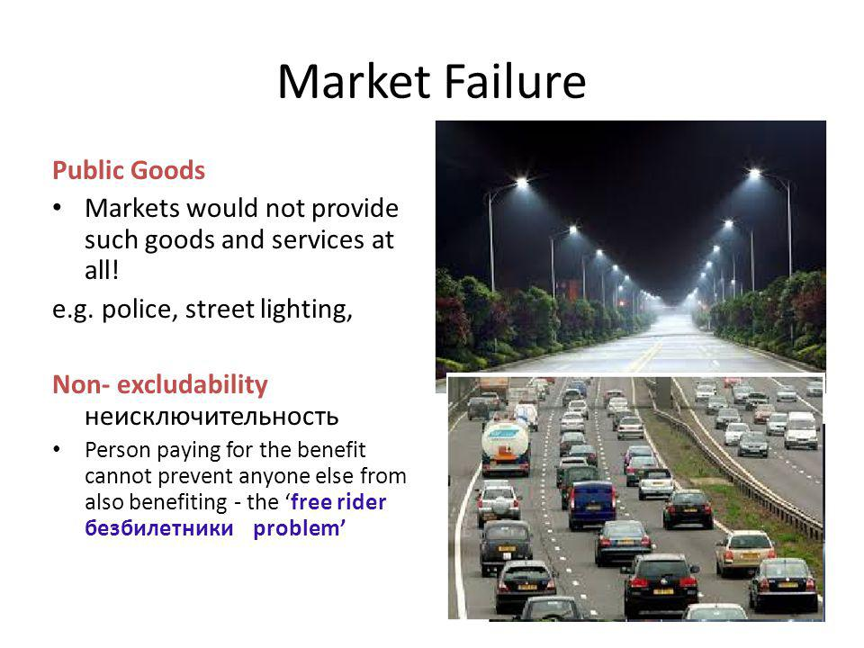 Market Failure Public Goods Markets would not provide such goods and services at all! e.g. police, street lighting, Non- excludability неисключительно