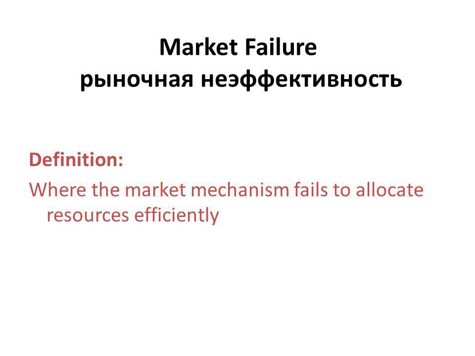 Market Failure рыночная неэффективность Definition: Where the market mechanism fails to allocate resources efficiently
